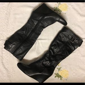 Nine West leather knee high black wedge boots 10